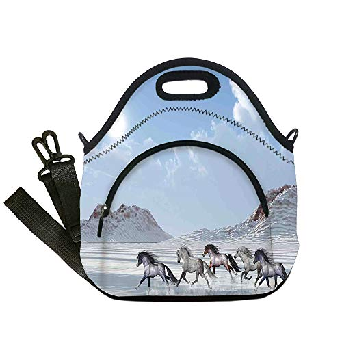(Insulated Lunch Bag,Neoprene Lunch Tote Bags,Horses,Herd of Wild Noble Horses Run in the Snows of a Fresh Winter Day Glorious Picture,Blue White,for Adults and children)