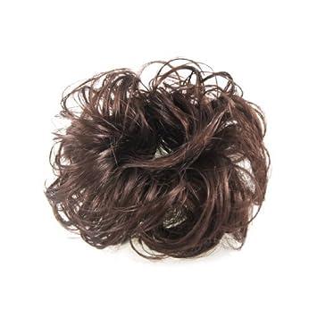 eDealMax 5.5 Diámetro de bricolaje Partido peluca de Pelo postizo de onda del Bollo marrón claro