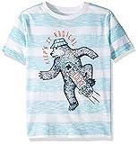 Lucky Brand Little Boys' Short Sleeve Stripe Graphic Tee Shirt, Radical Capri, 4/5