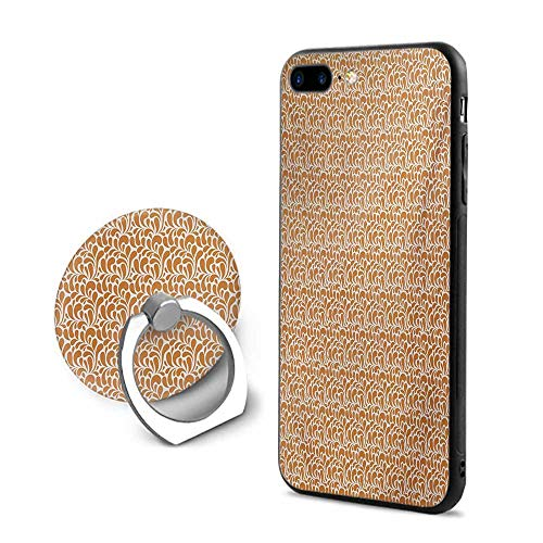 Ginger and White iPhone 7 Plus/iPhone 8 Plus Cases,Abstract Paisley Motifs Ethnic Middle East Folklore Inspirations Ginger and White,Mobile Phone Shell Ring Bracket