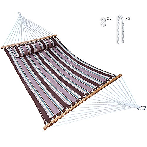 (14 Feet Quilted Fabric Hammock with Pillow and Spreader Bars, Portable Two Person Double Size hammock Heavy Duty with Chains for Outdoor Camping Garden Patio Poolside, 450 lbs Capacity(Brown Stripe))