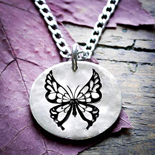 Silver Butterfly jewelry, Engraved Hammered Silver Dime, By NameCoins