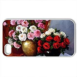 Flowers - Case Cover for iPhone 4 and 4s (Flowers Series, Watercolor style, White)