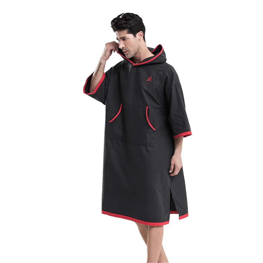 Traje de cambio de toalla Poncho Capucha del poncho de la toalla de las batas de reemplazo de microfibra unisex para adultos, bata de baño de secado rápido, ...