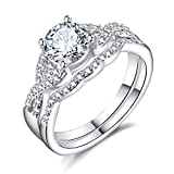 Hiyong Swirl Engagement Infinity Stacking Rings - Round Cut Cz Center Bridal Matching Band Set Size 5-11