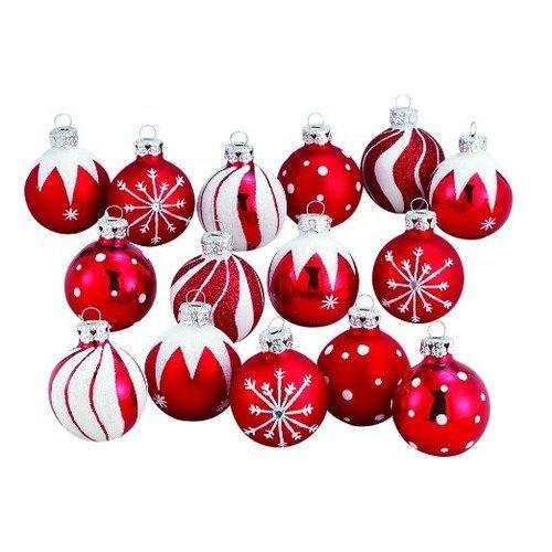 Kurt Adler 1.57-Inch Red/White Decorated Glass Ball Ornament set of (Decorated Glass Ball Ornaments)