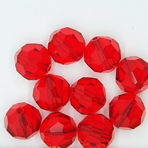 (Light Siam Red 8mm Swarovski Crystal Beads. Round. Made in Austria. Pack of 10)