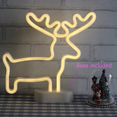 Christmas Neon Signs Reindeer Wall Decor Lights for Xmas USB and Battery Powered Neon Lights for Bedroom Girls Kids Gift Birthday Party with Table Stand(Neder) ()