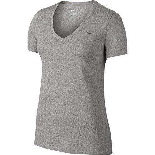 Nike TEE-VNECK EMBRD Swoosh - Camiseta para mujer Gris