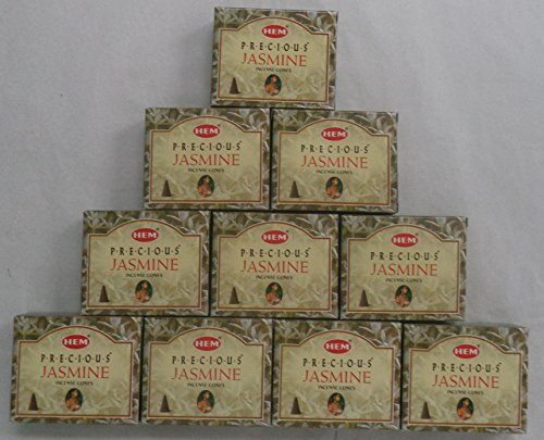 組競争領収書HEM Incense Cones: Precious Jasmine - 10 Packs of 10 = 100 Cones by Hem