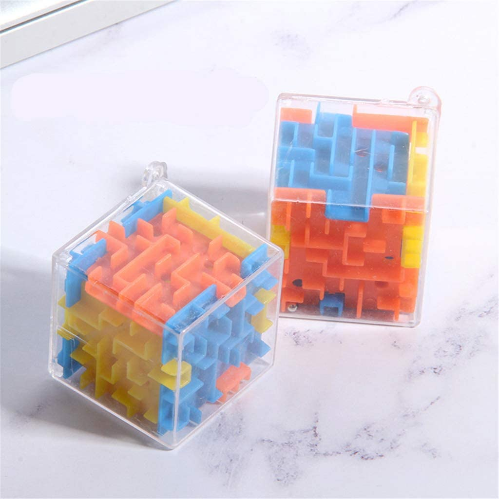 XISAOK 3D Maze Magic Cube Labyrinth Rolling Toy Educational Toys Keychain Kids Toys Gift,Random Color