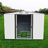 papabox 8'x8' Steel Storage Shed Large Backyard Outdoor Garden Garage DIY Sheds Kit Building Tool House