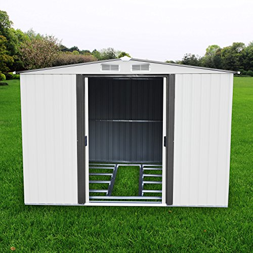 papabox 8'x8' Steel Storage Shed Large Backyard Outdoor Garden Garage DIY Sheds Kit Building Tool House