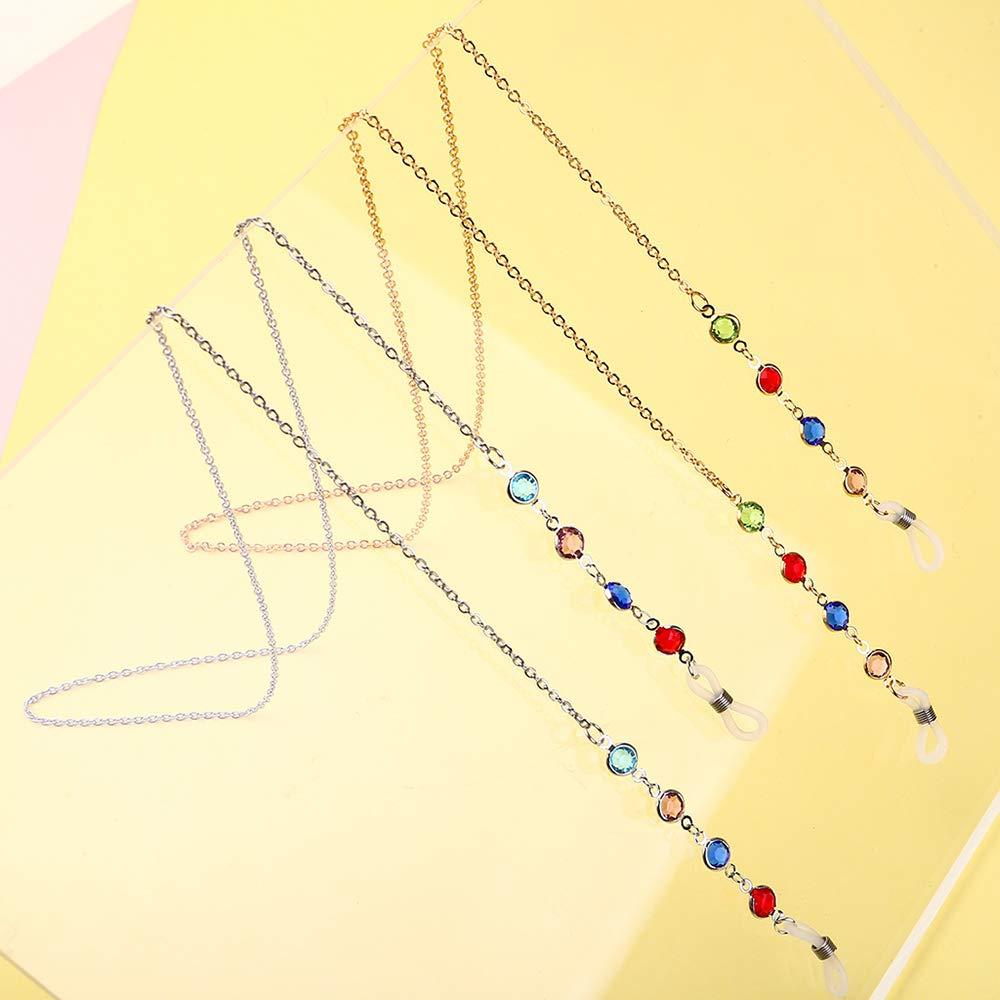 Festnight Cadena de gafas de sol largas Cadena de diamante multicolor Antideslizante Mujeres Accesorios para gafas Collar Cord/ón