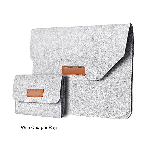 Wool Felt Ipad - 13-13.3 Inch Laptop Sleeve Case Bag with Mouse Charger Cover Wool Felt Protective Compatible with MacBook Air Retina Pro 2017 2016 (Gray)