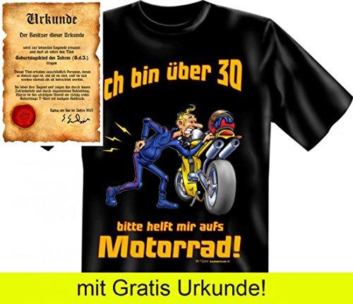 T-Shirt zum 30. Geburtstag - Ja, ich bin über 30 - Cooles Geschenk mit Urkunde !