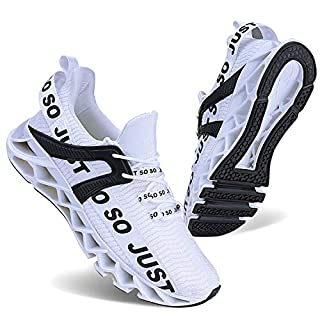 COKAFIL Mens Walking Shoes Running Athletic Fashion Tennis Blade Sneakers, 1white, 8
