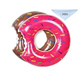 UClever 2 Packs Donut Pool Float Inflatable Swimming Ring 70CM for Children Kids 3-10 Years( Strawberry & Chocolate)