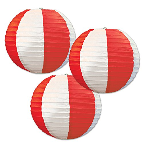 Beistle Stripes Paper Lanterns, 9 1/2-Inch, Red/White