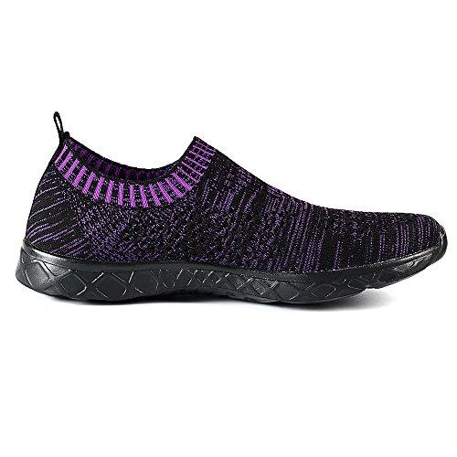 Feetmat Frauen Wasser Schuhe Mesh schnell trocknende Strandschuhe Dunkelviolett