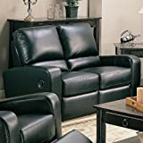 Cheap Kingslee Dual Reclining Love Seat in Black Bonded Leather by Coaster Furniture