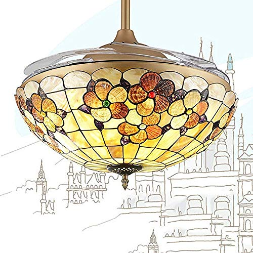 Forty Eight Inch Downrod - XUEGM-Ligth European Classical Style Ceiling Fans Light,Golden Ceiling Fans Chandelier with Colorful Glass Lampshade (36),42