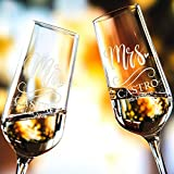 P Lab Set of 2, Bride and Groom Champagne Glasses