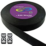 yakima world straps - 333 World Polypro Webbing Strap for Bags, Backpacks, Handles, Luggage, Belts, Climbing Harnesses, Slings, Collars, Tow Ropes. FREE with 2 pcs. Plastic Buckles. (Black 7869 1