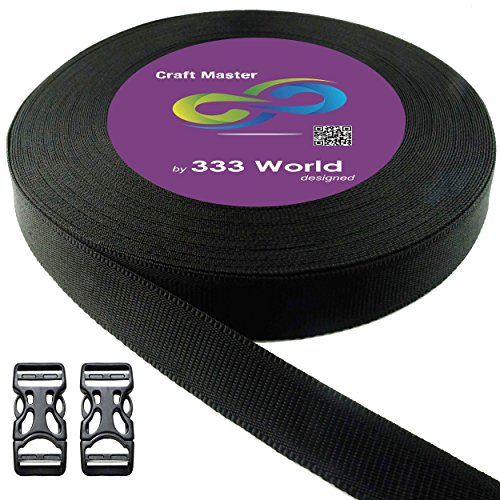 333 World Polypro Webbing Strap for Bags, Backpacks, Handles, Luggage, Belts, Climbing Harnesses, Slings, Collars, Tow Ropes. FREE with 2 pcs. Plastic Buckles. (Black 7869 1