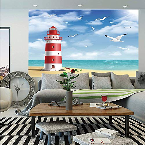 (Beach Wall Mural,Realistic Illustration Lighthouse on Calm Seashore Flying Seagulls Ocean Scenery Decorative,Self-Adhesive Large Wallpaper for Home Decor 55x78 inches,Vermilion Blue)