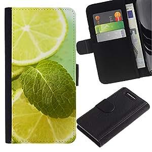 Planetar® Modelo colorido cuero carpeta tirón caso cubierta piel Holster Funda protección Para Sony Xperia Z3 Compact /D5803 / D5833 ( Fruit Macro Lime & Mint )