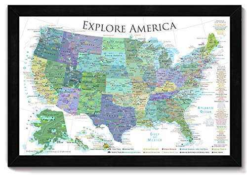 National Parks Map, Map of the US Push Pin Map - Bright White Edition - Large Framed Map - Designed by a Professional Geographer (Masters in Environmental Science)