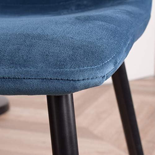 MEUBLE COSY Lot de 4 Fauteuil Chaise de Salle à Manger Velours Bleu Chaise de Bureau Ergonomique Pieds Métal avec Finition Noir , /44x54x87cm