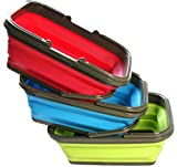 Folding Square Basket Set of 3EA Camping Picnic Fishing Wash Car Outdoor Multi-purpose Storage TPR material Green Deep Pink Blue (16L)