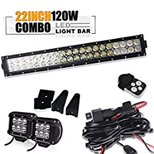 TURBOSII 22 / 20 INCH LED Work Light Bar SPOT FLOOD + 2PCS 4 INCH Led Cube Pods + 3LEAD Remote Switch Wiring Harness kit for Ford Jeep Wrangler Boat SUV Polaris RZR ATV UTV GMC Chevrolet Ranger Hidden Bumper Hood