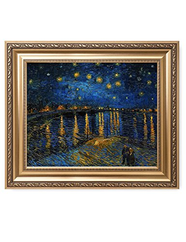 Framed Rhone Art (DECORARTS - Starry Night Over The Rhone By Vincent Van Gogh Classic Art. Giclee Print Framed Art for Wall Decor. Picture Size: 20x16, Framed Size: 26x22)