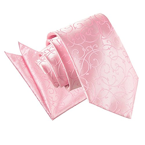 DQT Patterned Men's Hanky Swirl Pink Neck Floral Baby Wedding Tie rqrfR4nA