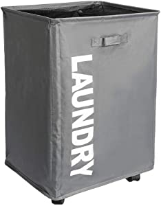 "BENOSS Laundry Hamper with Wheels Collapsible Waterproof Laundry Sorter Cart with Brake and Breathable Mesh Cover, 15.8"" x 13.4"" x 22.8"" (Grey)"