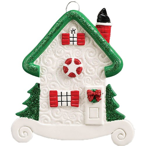 Personalized Our Home Christmas Tree Ornament 2019 - New Elegant White Stone Family House Green Glitter Roof Red Window Door Winter Ribbon Holiday Mate Host Year - Free Customization