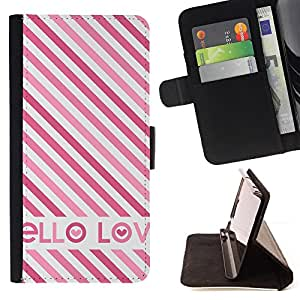 /Skull Market/ - BRITISH PINK WHITE HELLO LOVE TEXT STRIPES For LG G2 D800 - Caja de la carpeta del tir???¡¯???€????€????????&ce