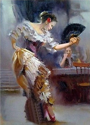 100% Genuine Real Hand Painted Abstract Fan dance costumes woman Get drunk Canvas Oil Painting for Home Wall Art Decoration, Not a Print/ Giclee/ Poster, FRAMED, Ready to (Abstract Dance Costumes)