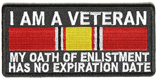 (I AM A VETERAN OATH OF ENLISTMENT RIBBON Embroidered Military Patch Vest Jacket Emblem )
