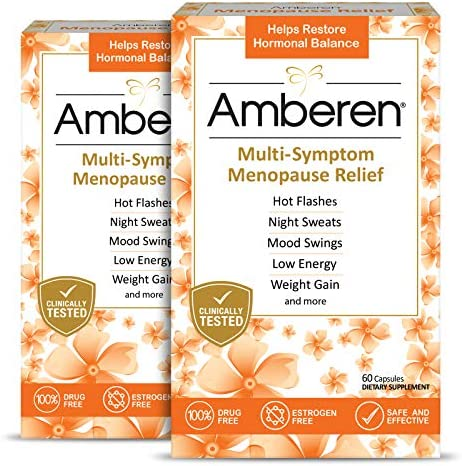 Amberen: Safe Multi-Symptom Menopause Relief. Clinically Shown to Relieve 12 Menopause Symptoms: Hot Flashes, Night Sweats, Mood Swings, Low Energy and More. 2 Month Supply 1