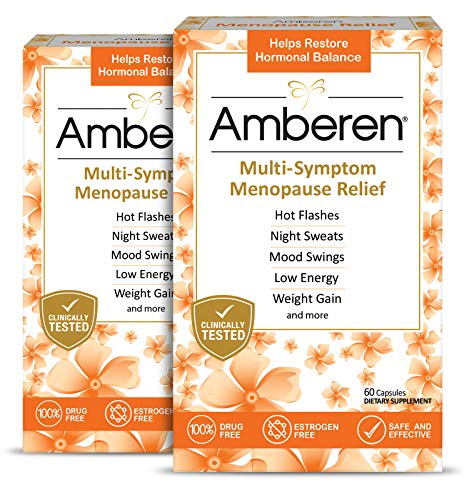 Amberen: Safe Multi-Symptom Menopause Relief. Clinically Shown to Relieve 12 Menopause Symptoms: Hot Flashes, Night Sweats, Mood Swings, Low Energy and More. 2 Month Supply (Best Herbal Supplement For Menopause Symptoms)