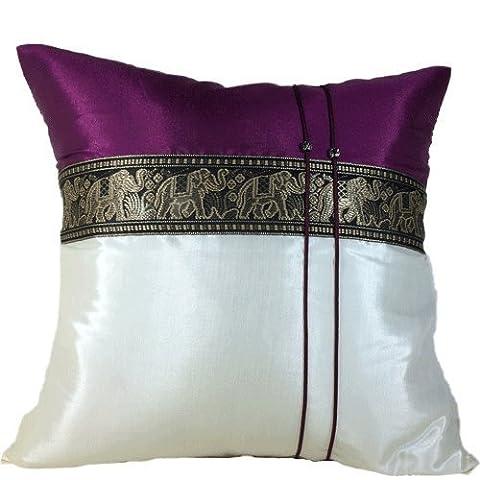 (High-Season) Throw Cushion Cover /pillow Elephant Middle Textile Design Handmade By Thai Silk Size 16x16 Inches (Purple dark with white - Gravity 16 Inch Bike