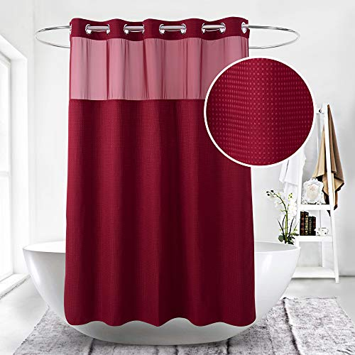- HappyBath Extra Long Hookless Fabric Shower Curtains for Bathroom-71x79 Burgundy Shower Curtain with Removable Polyester Material Liner-100% Waterproof-Red