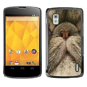 Persian Cat Nose Cute Kitten Kitty - Metal de aluminio y de plástico duro Caja del teléfono - Negro - LG Google NEXUS 4 / Mako / E960