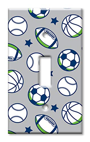 (Art Plates 1-Gang Toggle OVERSIZE Switch Plate/OVER SIZE Wall Plate - Sports Balls)