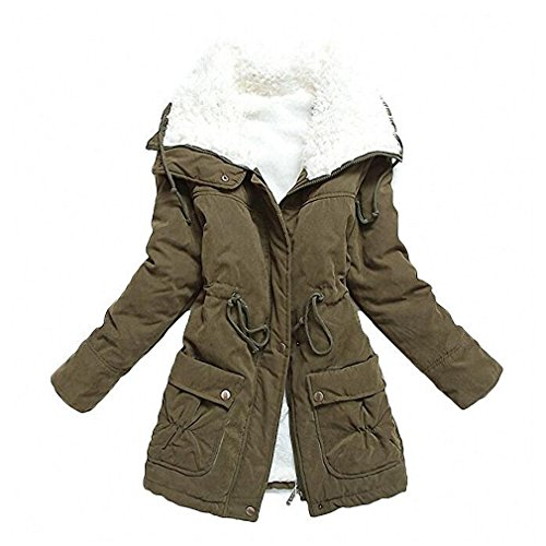 mewow Women's Winter Mid Length Thick Warm Faux Lamb Wool Lined Jacket Coat (XS, ArmyGreen)