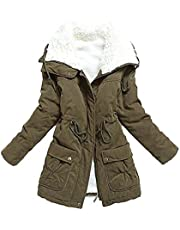 mewow Women's Winter Mid Length Thick Warm Faux Lamb Wool Lined Jacket Coat (XL, ArmyGreen)